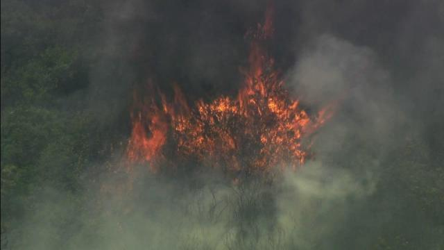Raw: Fire burns in Croatan National Forest