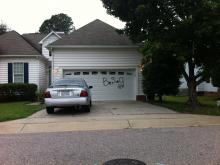 A resident submitted this photo of a home tagged by graffiti vandals in Northeast Raleigh