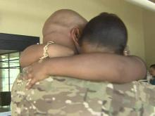 Army dad surprises young daughter in Apex