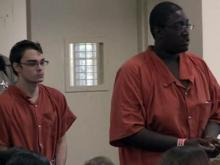 Jacob Whitfield, left, and Joshua Powers, make their first court appearance in Nash County on July 17, 2012, to face first-degree murder charges in the shooting deaths of Whitfield's father and stepmother.
