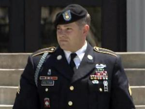Sgt. Adam Holcomb leaves the courthouse at Fort Bragg on July 26, 2012, during his court-martial in the hazing death of Pvt. Danny Chen.