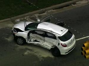 At least five people were injured in a three-vehicle crash at the intersection of Chapel Hill and Trinity roads in Cary on Friday, Aug. 24, 2012.