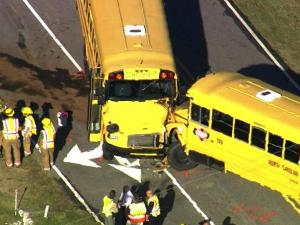 Two buses collide in Youngsville, injuring both drivers and several students.