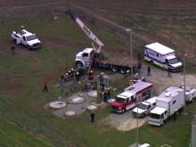 Firefighters and paramedics spent about 45 minutes Thursday morning rescuing a man trapped in an underground work space at a Fuquay-Varina water treatment plant.