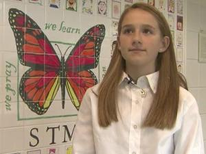 In the wake of Hurricane Sandy, students, like Allie Smith, at St. Mary Magdalene Catholic School in Apex are getting an important lesson about helping others.