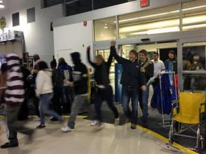 Shoppers file into the Garner Best Buy Friday, Nov. 23, 2012.