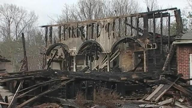 Fire destroyed Gideon Grove United Methodist Church in Rockingham County on Saturday night.