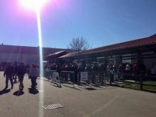 People wait to get inside the Dixie Gun and Knife Show at the North Carolina State Fairgrounds Saturday, Jan. 19, 2013.