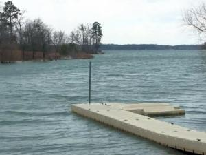 The water level of Kerr Lake was at 303 feet above sea level on Jan. 24, 2013, which is 8 feet above the level at which it's considered full.
