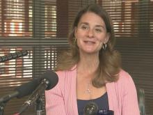 Melinda Gates talks to reporters during a media interview Saturday, May 11, 2013.