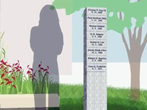 An illustration of a memorial for fallen Raleigh police officers that's set to be built by May 2014 in front of the Raleigh Municipal Building at 222 W. Hargett St.