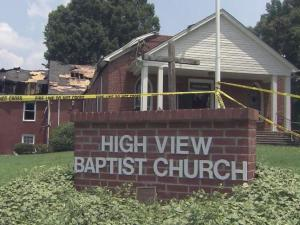 A massive fire destroyed High View Baptist Church near Roxboro on July 17, 2013, forcing about 30 people from the church.