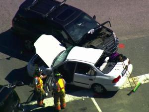 Three Panther Creek High School students were injured Monday in a three-car wreck near the school, authorities said.
