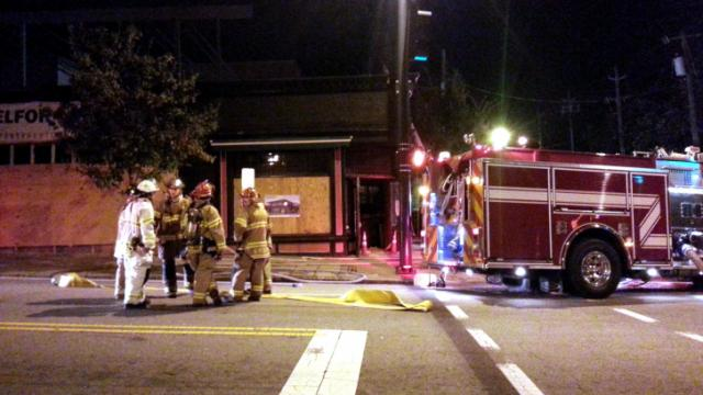 Fire crews are battling a blaze at Hibernian Pub on Glenwood Avenue in Raleigh. Fire destroyed the bar and restaurant in December, and efforts to rebuild it began in July.