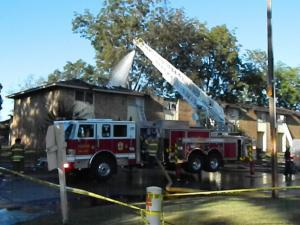 A fire ripped through a Fayetteville apartment complex Saturday, heavily damaging 8 units, police said.