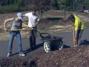 One day after they were furloughed as part of the government shutdown, about 25 U.S. Environment Protection Agency employees volunteered at Herndon Park in Durham on Oct. 2, 2013.
