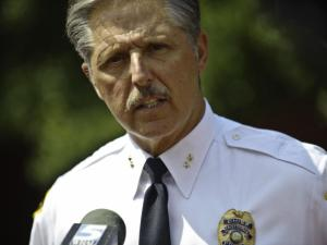 Fayetteville Police Chief Harold Medlock speaks at a press conference about the slaying of Errol Williams.