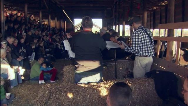 Christmas service in barn