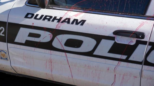 Vandalized Durham police car