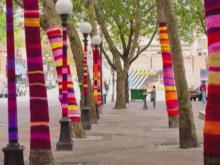 Trees bundle up for downtown art project