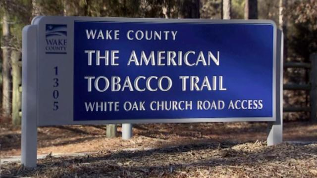 American Tobacco Trail sign in Cary