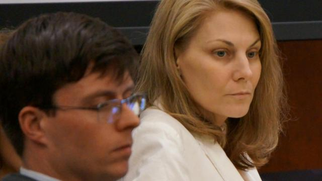 Amanda Hayes listens to testimony Feb. 10, 2014, in her first-degree murder trial. (Chad Flowers/WRAL)
