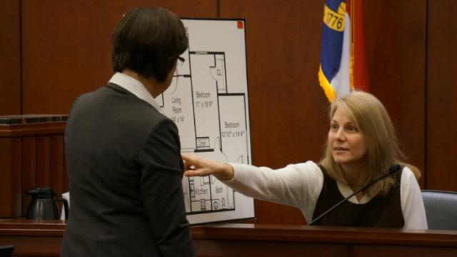 Wake County Assistant District Attorney Becky Holt on Feb. 12, 2014, cross-examines Amanda Hayes, on trial for first-degree murder in the July 13, 2011, death of Laura Ackerson. (Chad Flowers/WRAL)