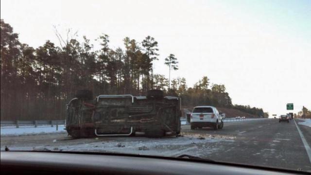 Truck overturned on I-540