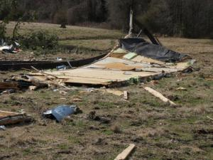 A tornado ripped apart a mobile home Friday, Feb. 21, 2014 on N.C. Highway 13 in Wayne County.