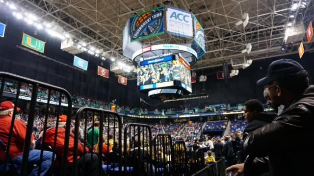 Fans watch North Carolina State battle against Miami in the second round of the 2014 ACC Tournament on Thursday, March 13, 2014.