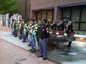A memorial honoring eight Raleigh police officers killed in the line of duty was unveiled Friday evening in a ceremony at the Raleigh Municipal Building.