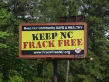 This billboard went up May 5 in Lee County just outside of Sanford. Opponents of horizontal drilling and hydraulic fracturing are continuing their fight as state lawmakers look to begin drilling by July 2015.