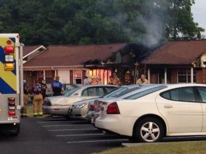 An elderly woman was injured in a fire at an apartment in Fuquay-Varina on June 4, 2014.
