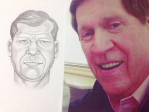 Wake County Sheriff Deputy Mike Mullins drew this sketch of WRAL reporter Amanda Lamb's father, Bill Lamb, by asking her questions about his appearance based on the photograph.