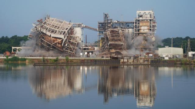 Duke Energy Progress on June 20, 2014, imploded boilers at the retired H. F. Lee Steam Plant in Goldsboro, setting the way for the utility to begin restoring the site as part of a broader move toward cleaner energy sources. (Courtesy of Duke Energy ProgressO