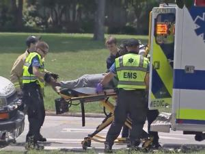 A search for a man who walked away from an evaluation at WakeMed ended Thursday afternoon after a witness spotted him walking along New Bern Avenue with no clothes on and called 911.
