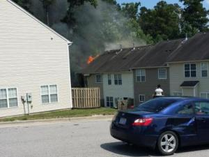 Raleigh firefighers reported to a townhouse fire at 3409 Sosa Road Monday afternoon.