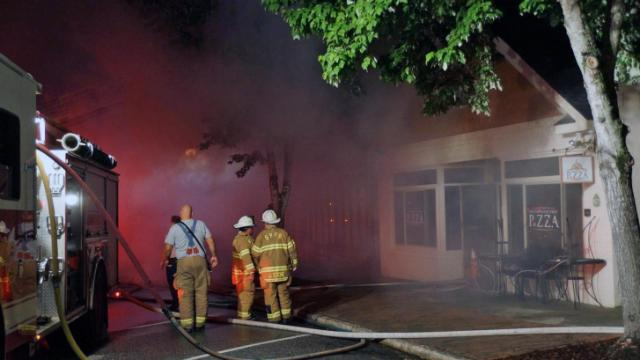 Fire destroyed a restaurant in downtown Southern Pines early Wednesday, Aberdeen Fire Department officials said. (Photo by Frank Staples)