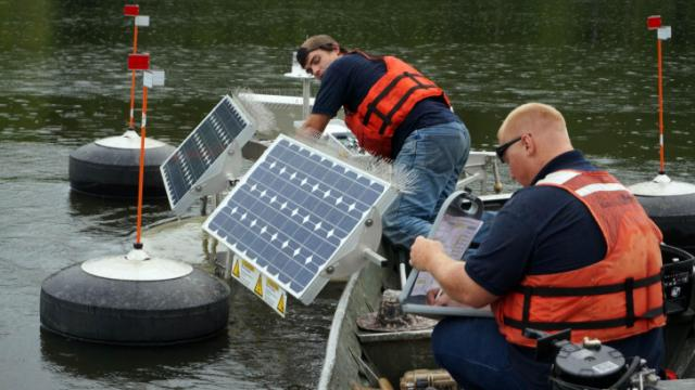 State officials began deploying solar-powered water circulators in Jordan Lake on July 21, 2014, in the latest attempt to battle pollution in the lake.