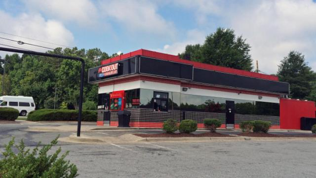 One person suffered minor injuries early Saturday when gunshots were fired at a Cook Out restaurant on Hillsborough Road in Durham, police said.
