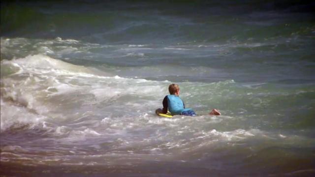 Rip current. boy in ocean, swimmer