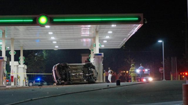 One person suffered minor injuries early Friday when a car nearly crashed into a gas station on Glenwood Avenue in northwest Raleigh, police said.