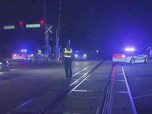 A freight train collided with a vehicle Friday night in Morrisville, according to police.