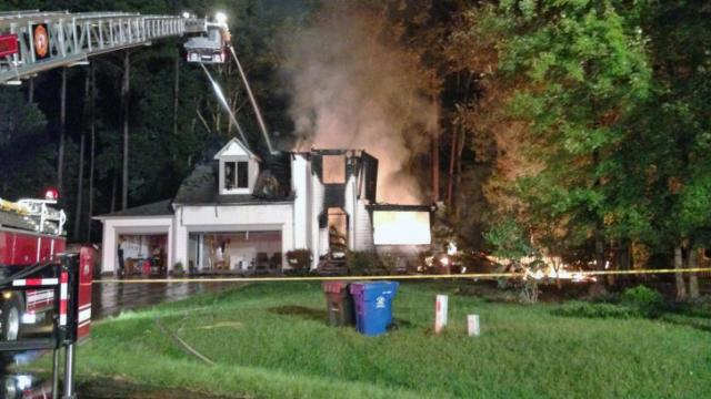 Two dogs were rescued early Thursday from the garage of a burning home on Maere Court, a spokesman for the Durham Fire Department said.