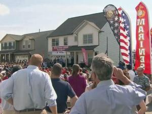 Cpl. Nathan Jakubisin lost his leg while serving in Afghanistan. He and his family were given the keys to a brand new home in Fuquay-Varina.