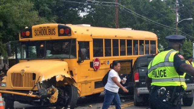 A school bus was involved in a wreck Friday morning in Durham, officials said. (Photo by Gene Raffel)