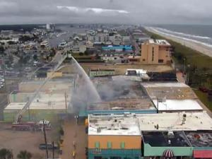 An arcade on the boardwalk at Carolina Beach caught fire on Sept. 25, 2014.