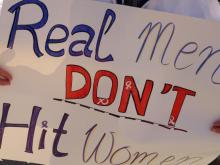 The Wake County Domestic Violence Task Force holds a rally and silent march outside the Wake County Courthouse in Raleigh on Oct. 22, 2014.