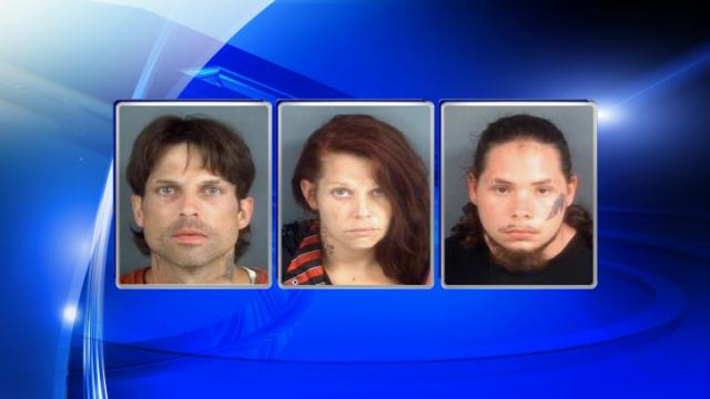 (L to R) David Shawn Branham, Tracy Michelle Branham and William Ray Tyler Jr. were arrested Wednesday in connection with the discovery of a meth lab.
