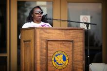 Felicia Jordan, mother of the Fayetteville murder victim Ravon Jordan, speaks to a crowd of hundreds at the Cumberland County Courthouse during a youth rally against violence rally on July 8, 2014. (Photo by James Robinson/Fayetteville Observer)